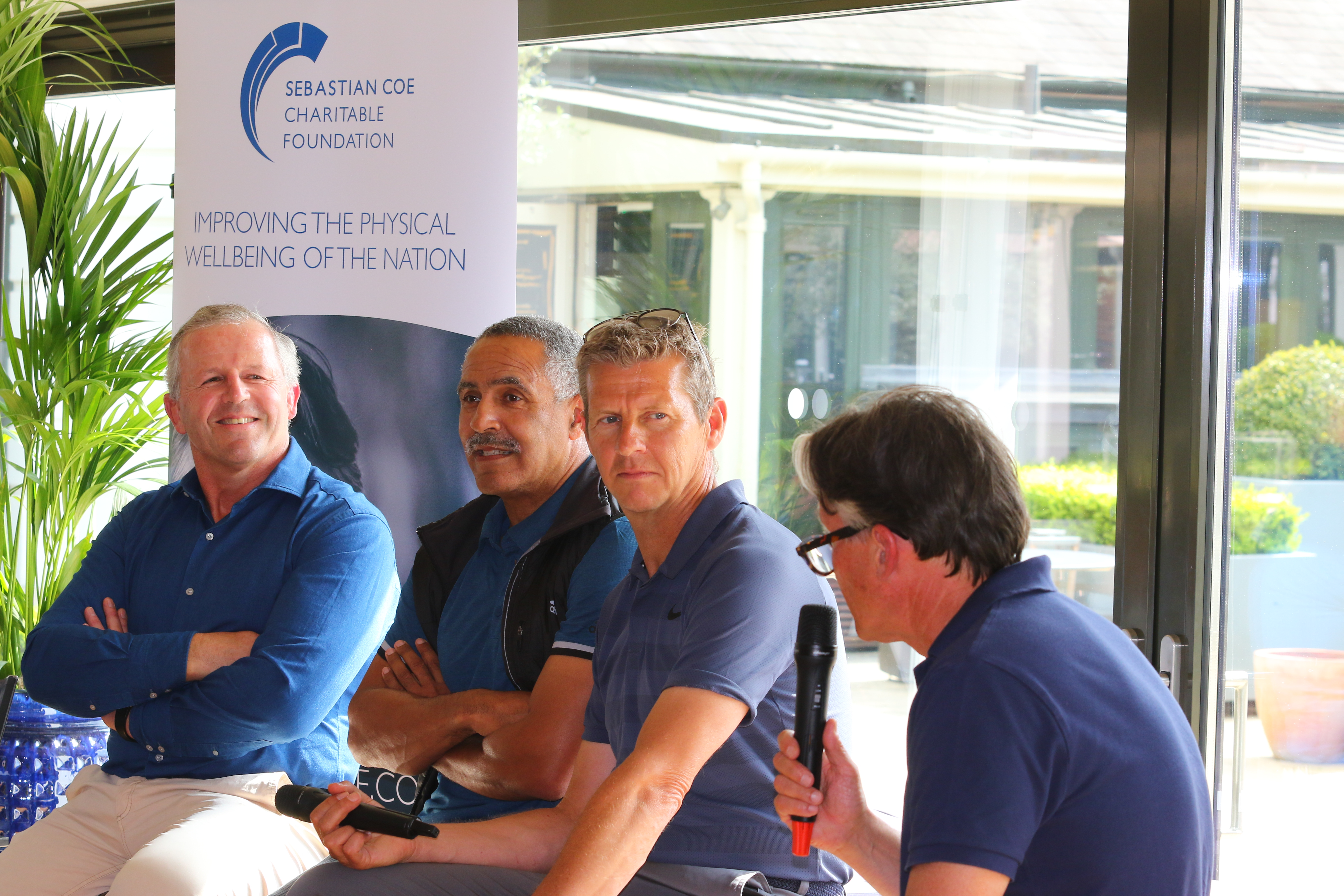 Seb interviewing Sean Fitz-Patrick, Daley Thompson and Steve Cram at our 2018 SCCF Golf Day