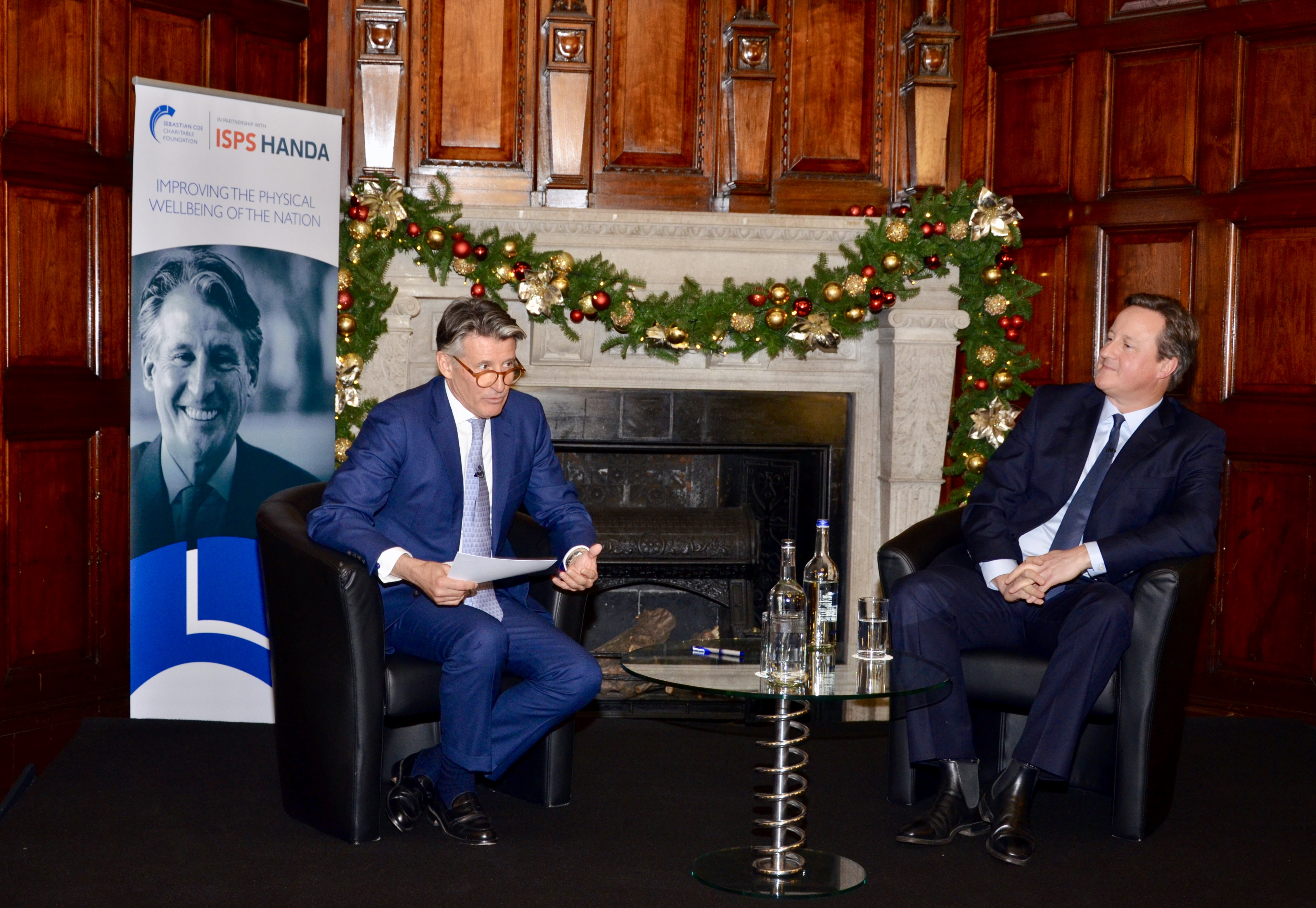 Seb interviewing David Cameron for our 2018 In Conversation lunch